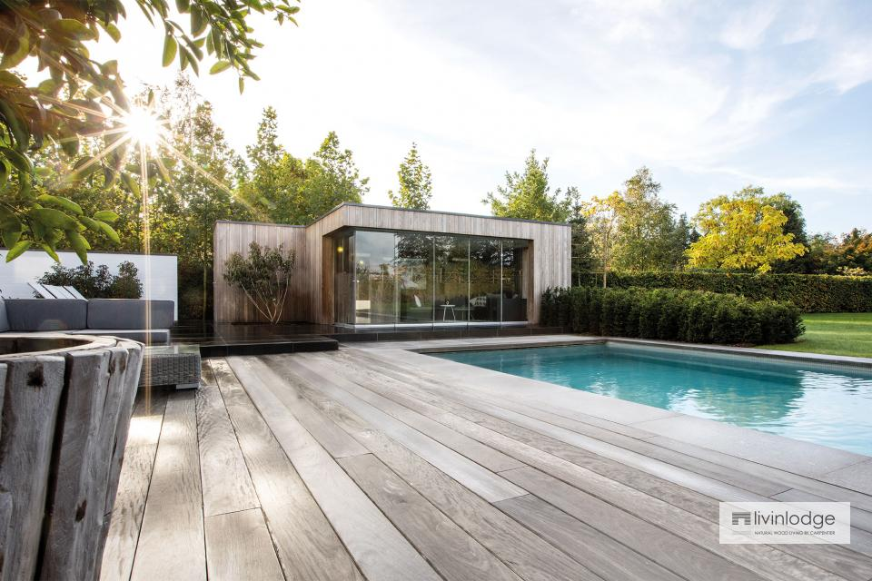 Moderne poolhouse in HOTwood essen te Zwijnaarde
