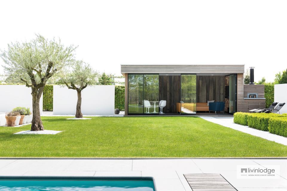 Moderne tuinstudio annex Houtoven te Brussel